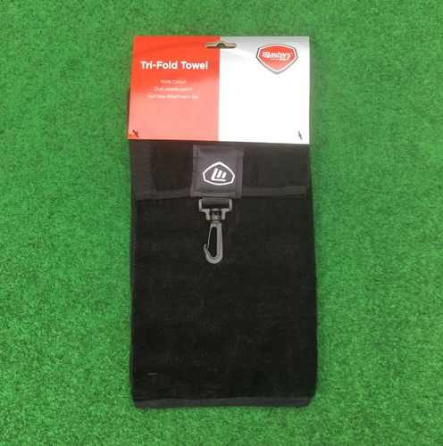 Masters Tri Fold Golf Towel Black